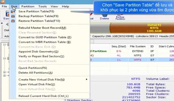 cứu dữ liệu mất phân vùng ổ cứng